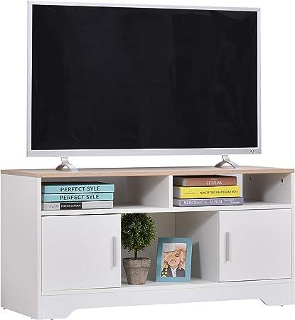 HOMCOM Armario para Televisor Mueble Auxiliar para TV con Gran Espacio de Almacenaje Estantes Abiertos Administración de Cables Diseño Clásico 105x40x52 cm Blanco: Amazon.es: Hogar