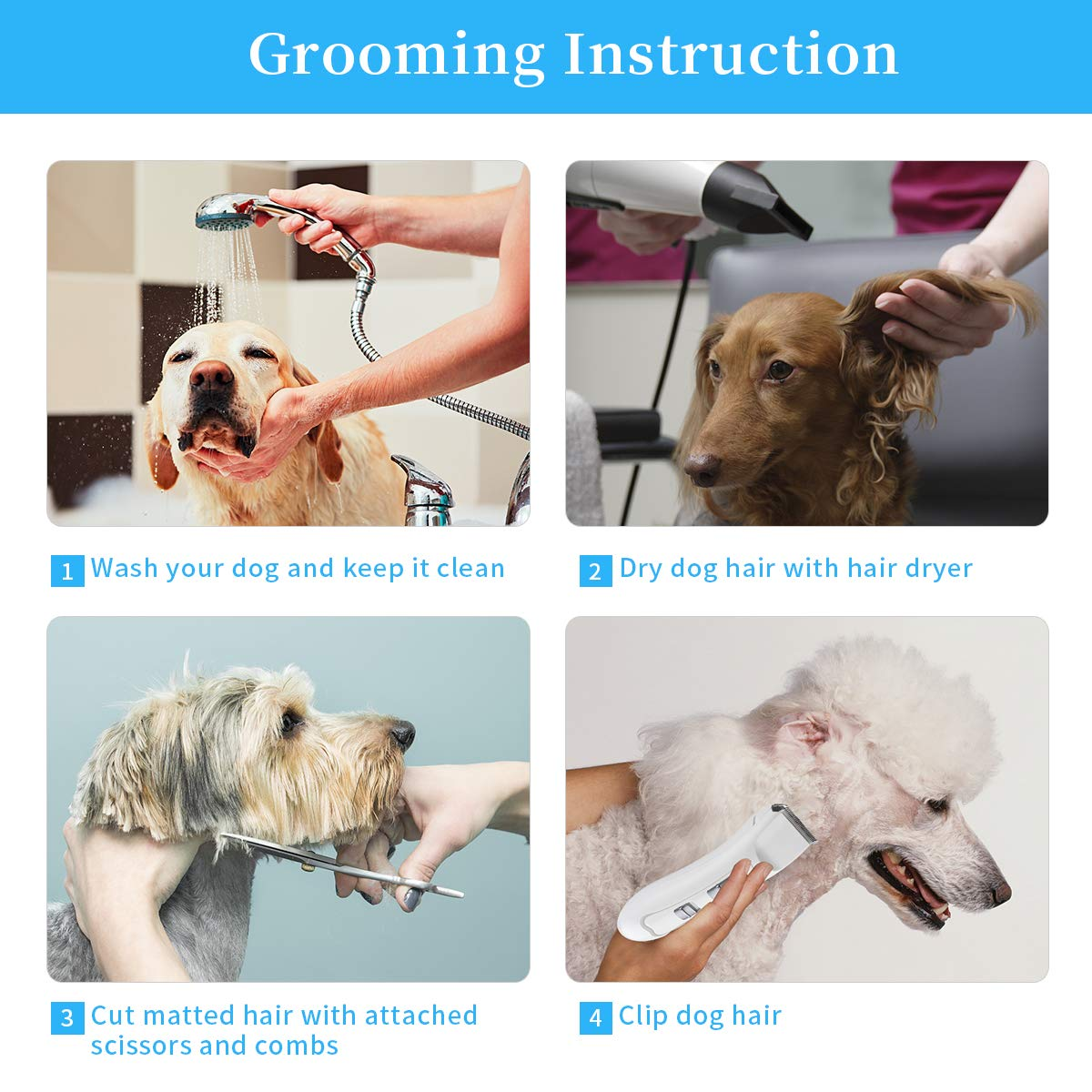 Anewgift Pet Hair Clipper Dogs Cats Cordless Professional Grooming Trimming Kit Set