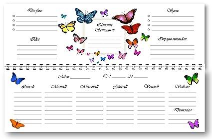 Planificador Agenda de mesa semanal spiralata Mariposas sin data ...