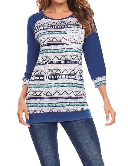 0b86f2fbd47 Qearal Women Winter Ladies Cotton Loose Ethnic Print Tunic Long Sleeve  Blouses Tops Shirts(Small