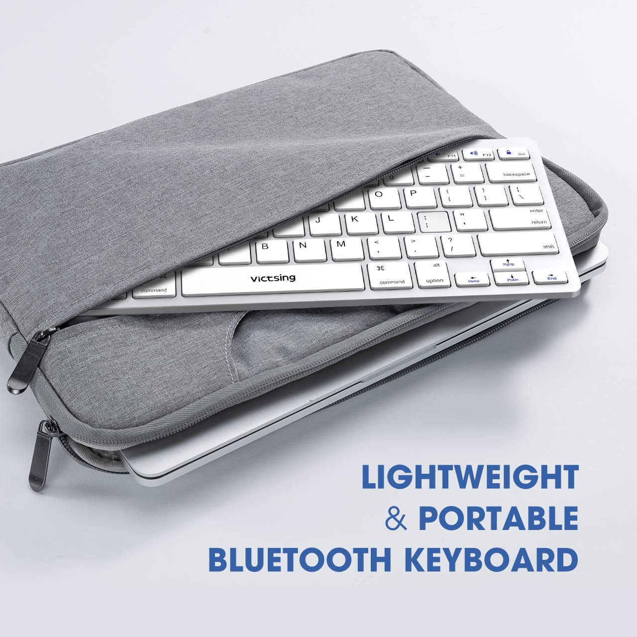 Silver Laptop iPhone, iPad Wireless Keyboard for iOS Smartphone and Other Bluetooth Enabled Devices VicTsing Ultra-Slim Portable Bluetooth Keyboard Tablet Mac Computer Windows Android