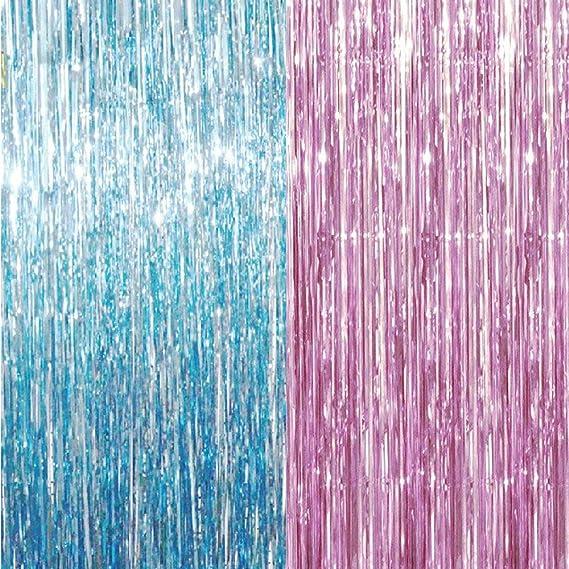 Goer Lametta Fransenvorhänge Aus Metallic Lametta Folie Fransenvorhänge Für Geschlechtsoffenbarung Fotohintergrund Hochzeitsdekoration 2 Packungen Pink Blau Küche Haushalt