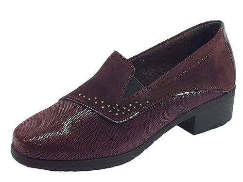 susimoda Mocasines para Mujer de Ante diamantado Color Vino tacón Medio Morado Size: 35 EU: Amazon.es: Zapatos y complementos