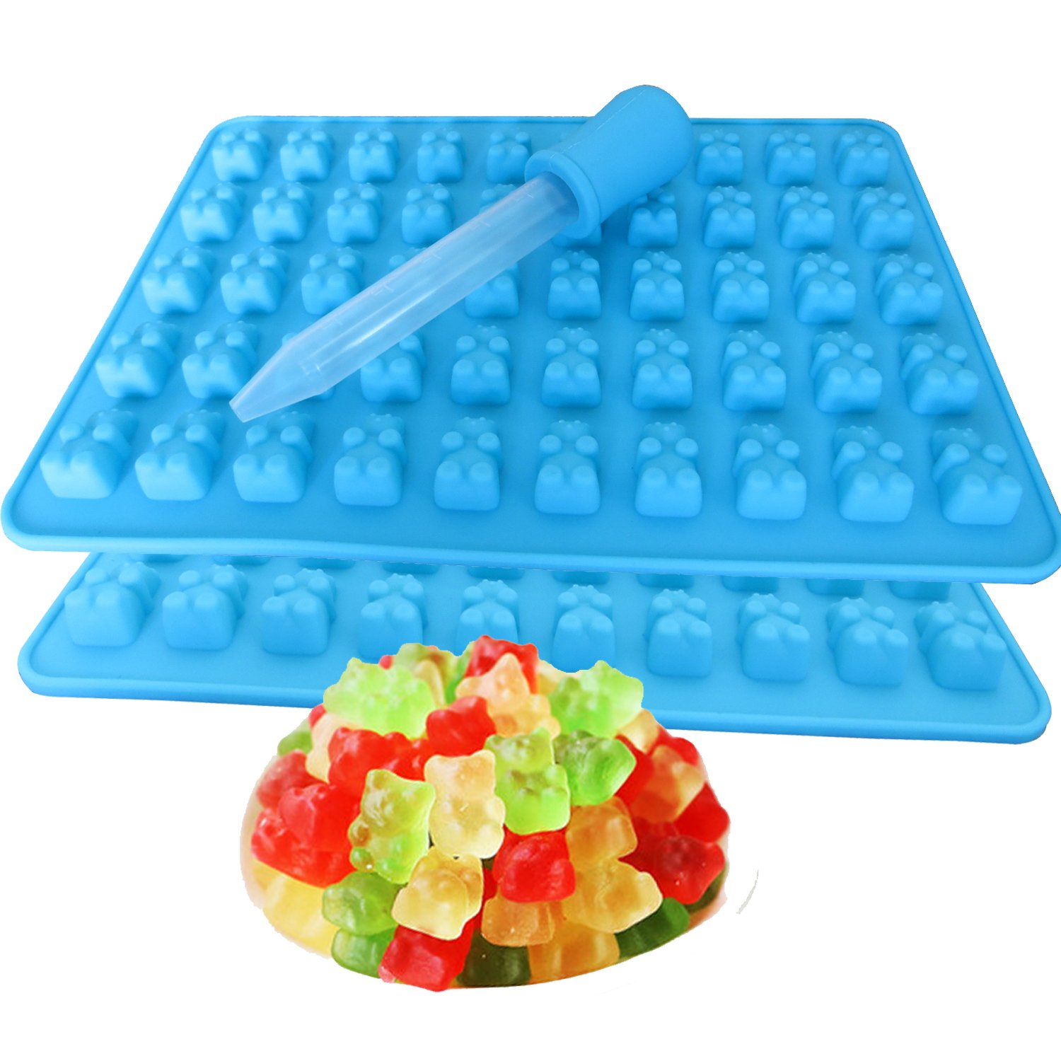 2 Pack 50 Cavity Silicone Gummy Bear Candy Chocolate Mold With a Bonus Dropper Making Cute Gift For Your Kids B-001