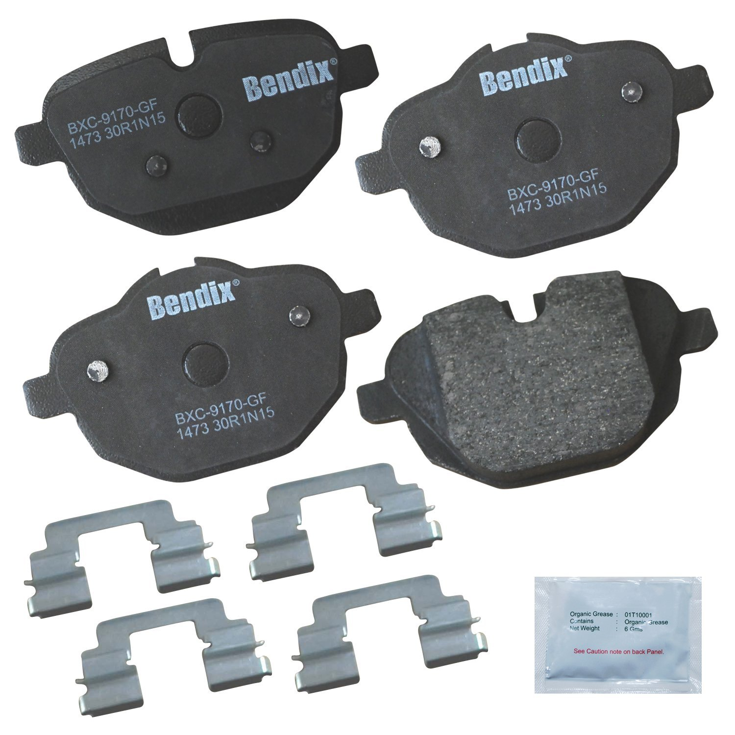 with Installation Hardware Rear Bendix Premium Copper Free CFC1473 Premium Copper Free Ceramic Brake Pad