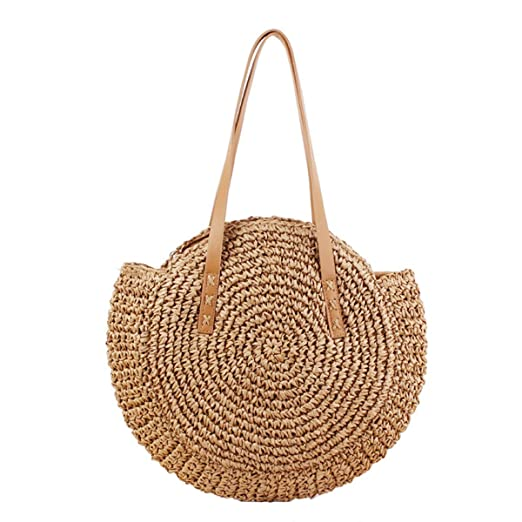 Amazon.com | Straw Handbag For Women Round Straw Woven ...