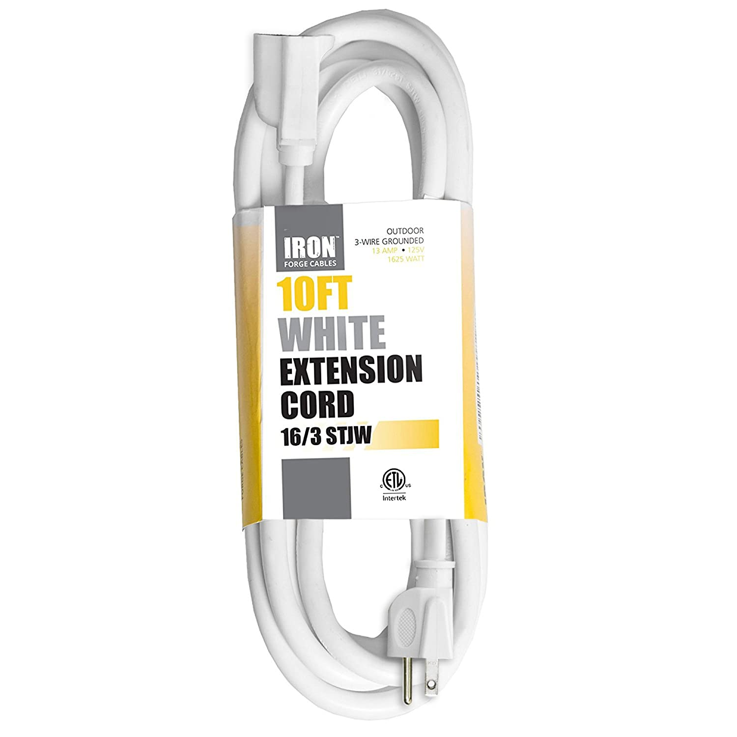 10 Ft White Extension Cord - 16/3 Durable Electrical Cable ...