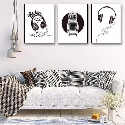 Minimalista en blanco y negro en la pared Cuadros N Decoración Auriculares Espacio de música Moderno Gimnasio juvenil Lienzo Impresión del arte del cartel Pintura Sin marco 40x60 cm: Amazon.es: Hogar