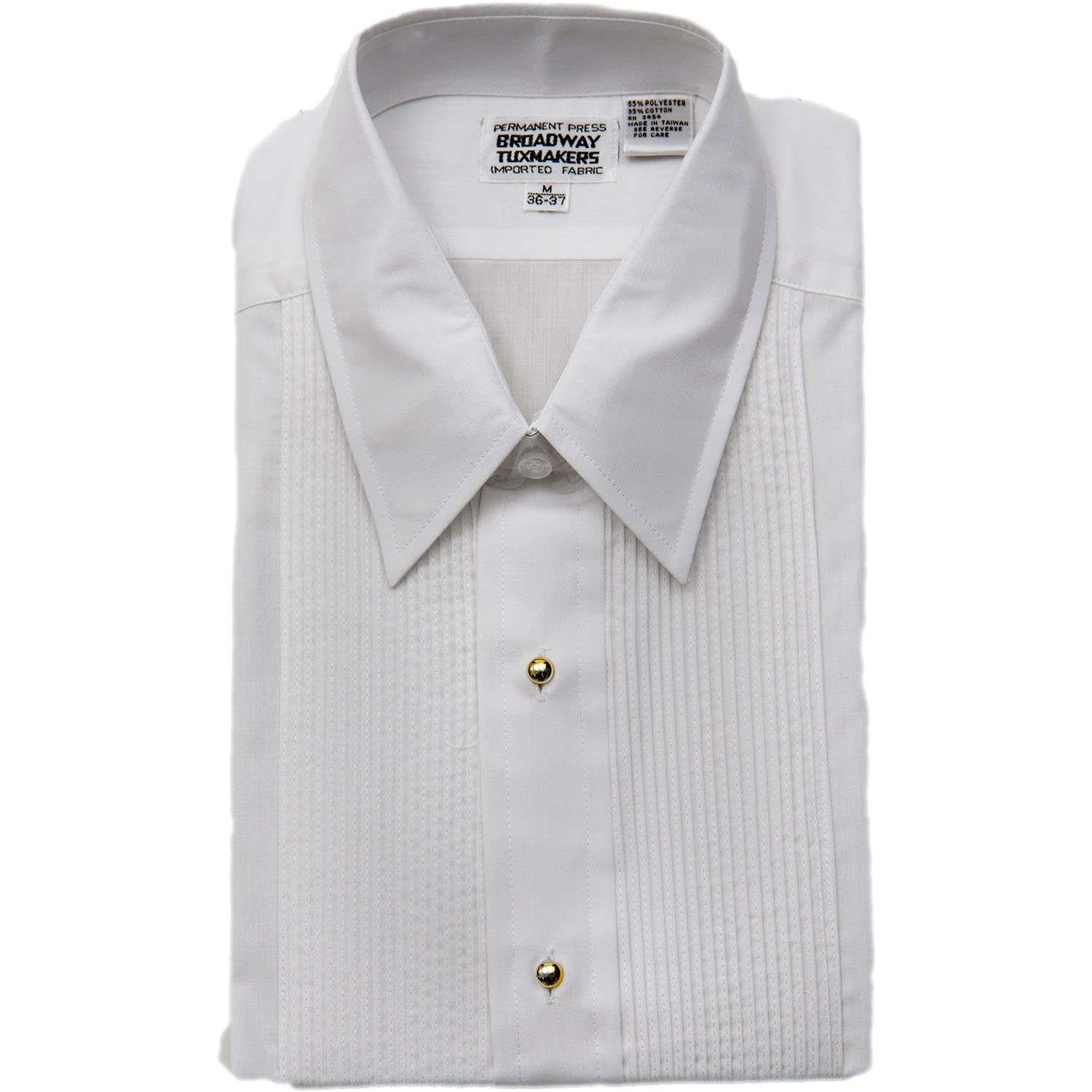 Broadway Tuxmakers Mens Laydown Collar White Tuxedo Shirt With Gold Studs by 501-laydown-gold