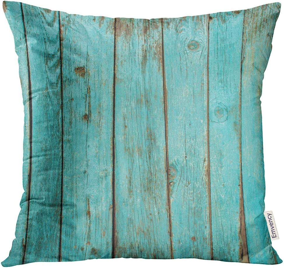 Emvency Square 20x20 Inches Decorative Pillowcase Print Wooden Board Stripes Turquoise Wood Teal Weathered Polyester Decor Throw Pillow Cover with Hidden Zipper for Bedroom Sofa