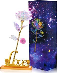 Colorful Galaxy Rose Flower Gift LED Light Artificial Rose Flower with Love Shape Base for Valentine's Day, Mother's Day, Thanksgiving, Birthday, Anniversary, Wedding Gifts Supplies