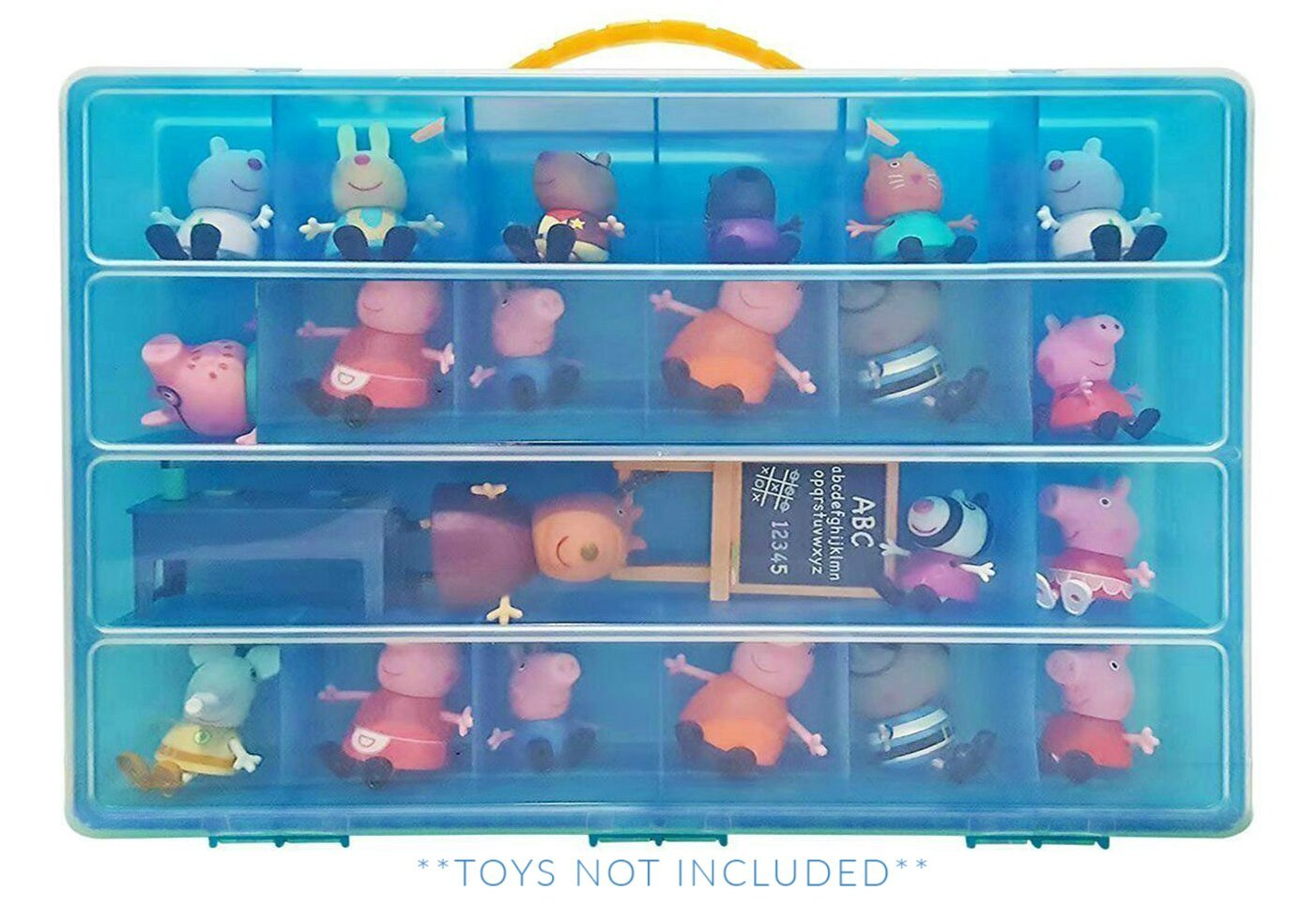 Life Made Better Toy Organizer with Carrying Handle, Fits Up to 40 Figures and Compatible with Peppa Pig Mini Figures, Blue