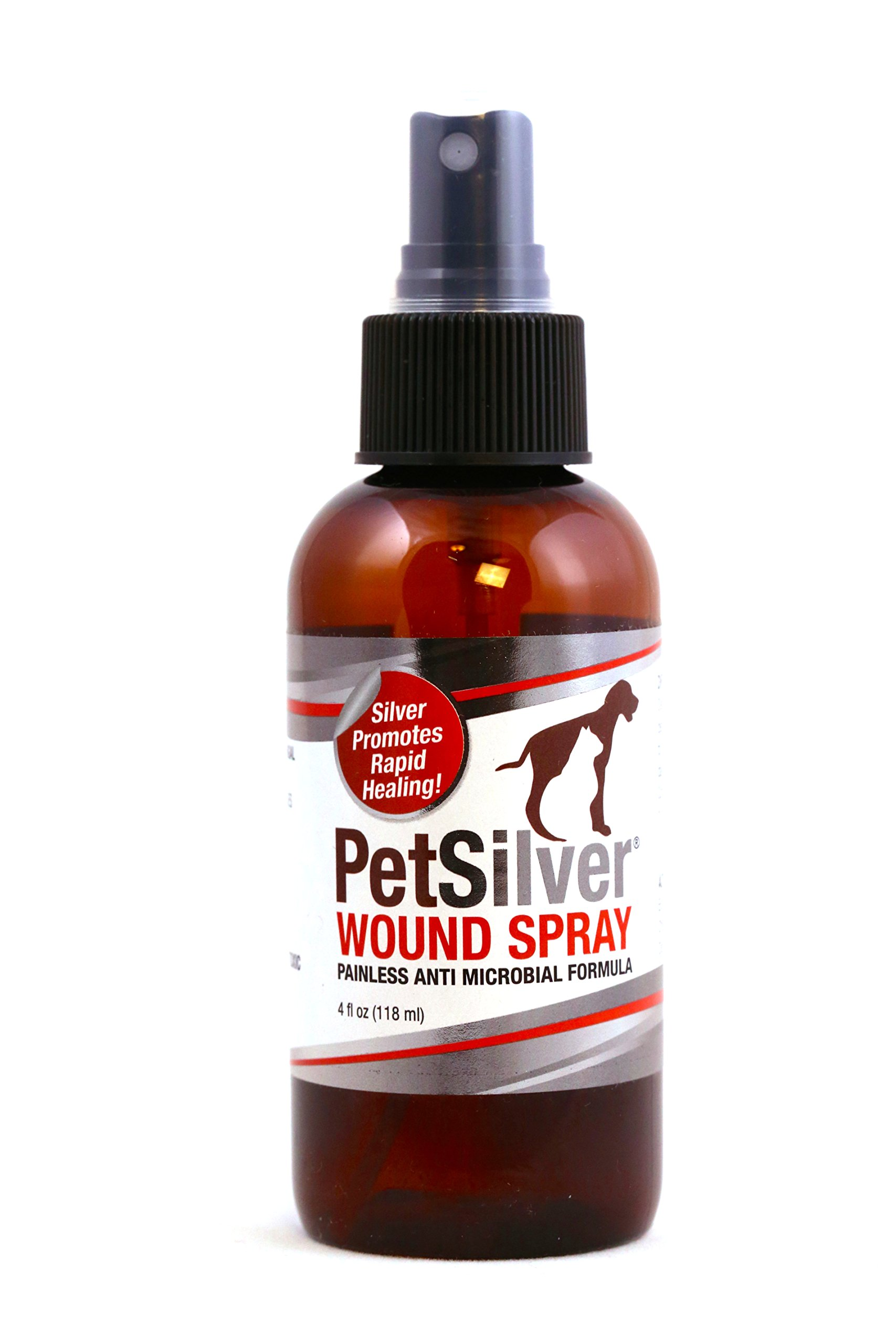 PetSilver Wound Spray with New Chelated Silver 50 ppm. Antimicrobial Wound