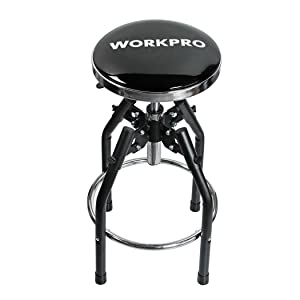 WORKPRO W112010A Heavy Duty Adjustable Hydraulic Shop Stool, Black