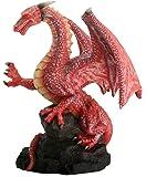 Red Dragon On Rock Fantasy Figurine