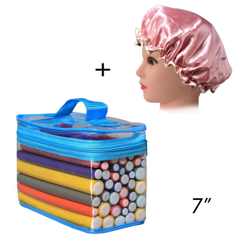 Hair Rollers Flexi Rods Set, FushoP 42-PACK 7'' roller, hair curlers rollers for hair,flexi-rods hair curling rods flex twist foam + Satin Bonnet by FushoP