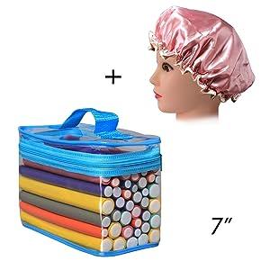 "Hair Rollers Flexi Rods Set, FushoP 42-PACK 7"" roller, hair curlers rollers for hair,flexi-rods hair curling rods flex twist foam + Satin Bonnet"