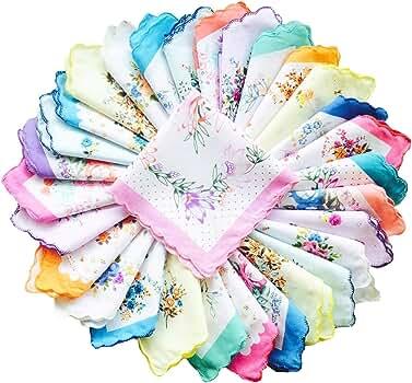 ATATMOUNT 6 Pcs Vintage Cotton Ladies Embroidered Lace Handkerchief Women Floral Hanky