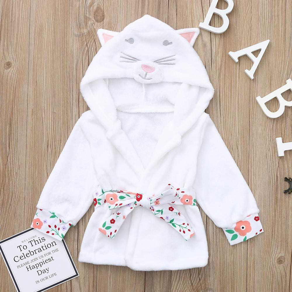 kaiCran Unisex Baby Bathrobe Kaicran Boys Girls Cartoon Cat Hooded Long Sleeve Bathrobe Night-Gown Clothes