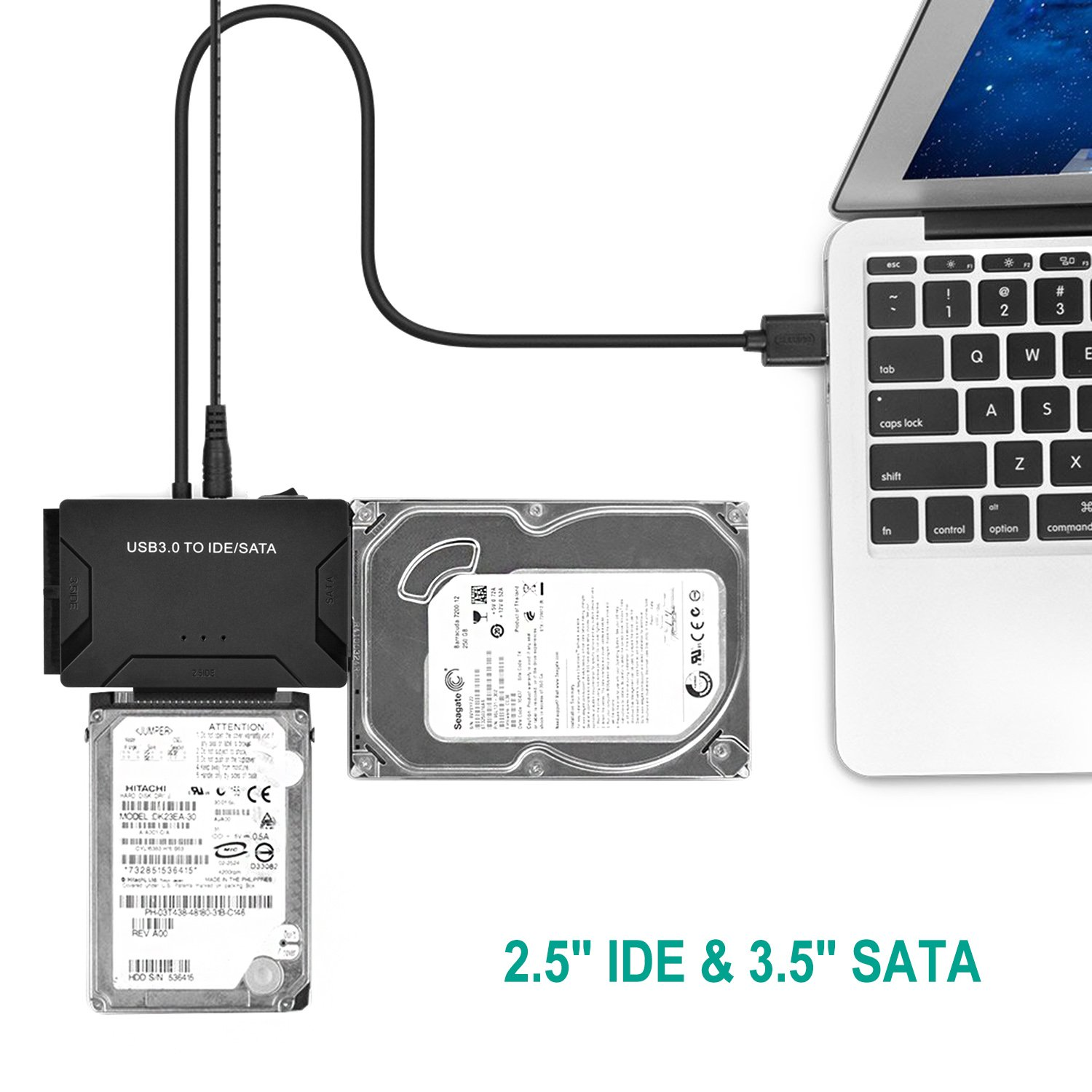 AGPtEK USB 3.0 to IDE/SATA Converter Adapter with Power Switch for 2.5''/3.5''SATA/IDE/SSD Hard Drive Disks, Support4TB, Include 12V 2APower Adapter & USB 3.0 Cable by AGPTEK (Image #6)