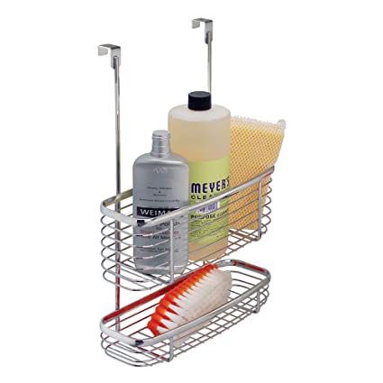 InterDesign Axis Over The Cabinet 2 Tier Kitchen Storage Basket Organizer  For Aluminum Foil,