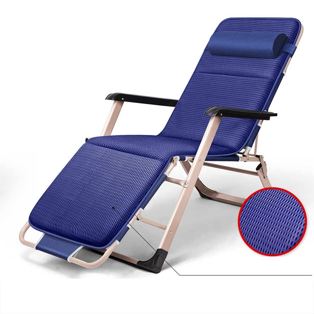 Blue deck chair / lunch break sleeping chair / office bed backrest / lounge chair / beach chair / recreational home / ( Size : C )