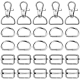 Purse Hardware, Paxcoo 50pcs Swivel Hook with D Rings for Purses, Keychain, Lanyard and Handbags (3/4 Inch)