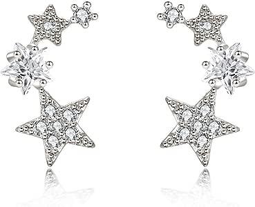 CIShop Star CZ Simulated Diamond Stud Earrings Ear Wire Ear Cuff Earring 1Pair (hypoallergic)