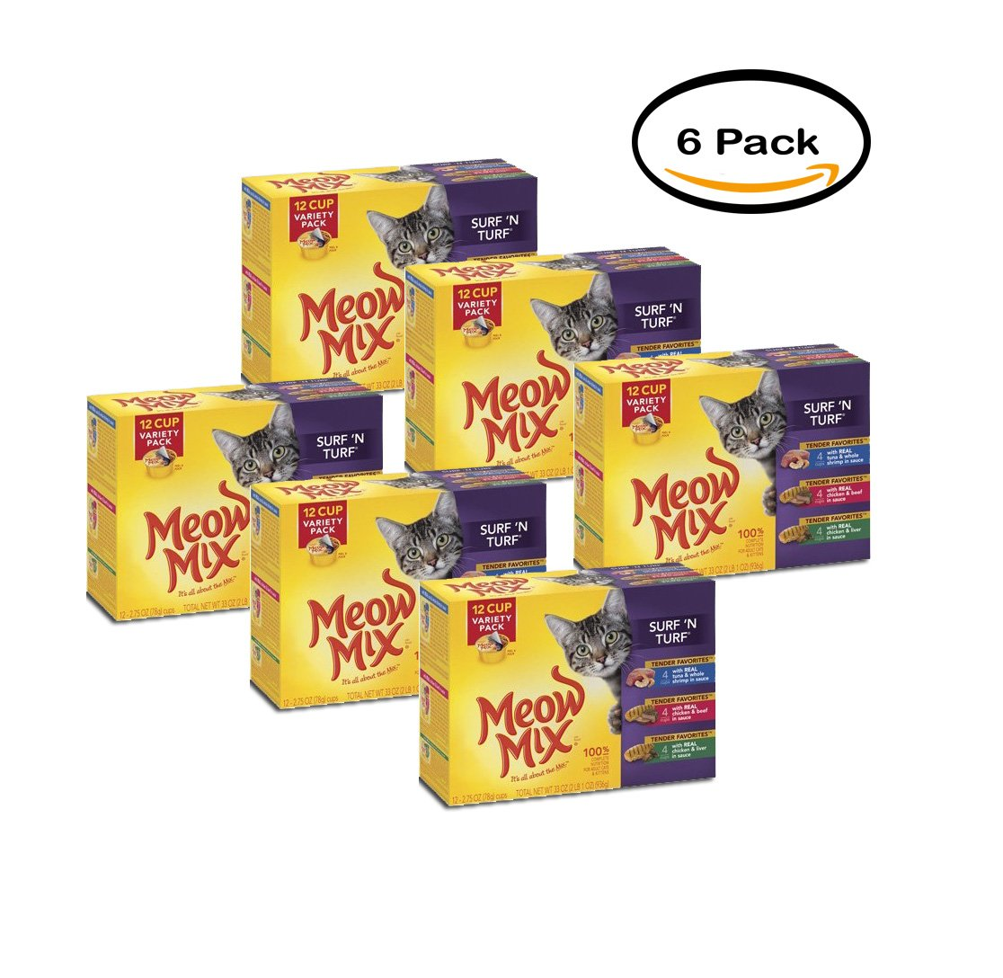 PACK OF 6 - Meow Mix Market Select Surf 'n Turf Wet Cat Food Variety Pack, 12 ct