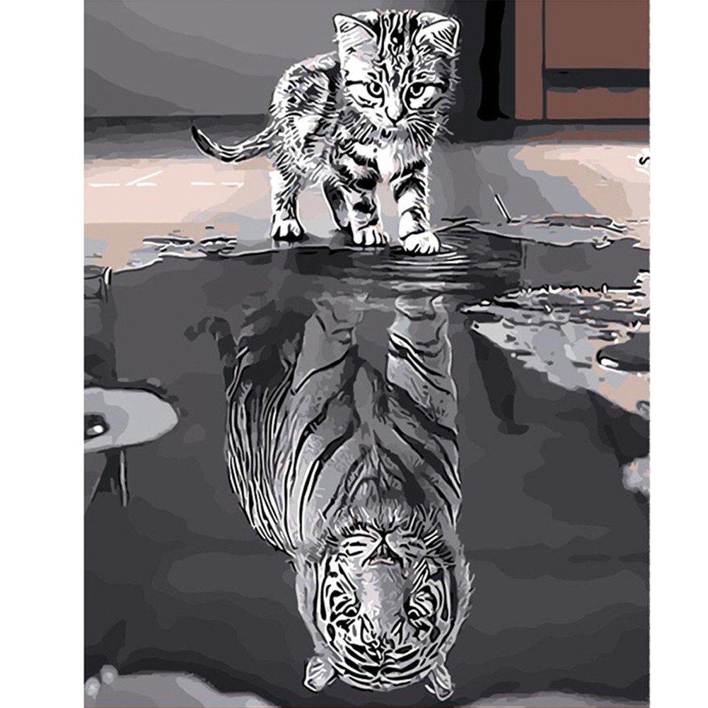 PanDaDa Peinture à l'huile Chat Image Inversée Tigre Kits Peinture par Numéro DIY Toile Art Création Décoration Murale de Maison Salon Chambre Cadeaux Anniversaire Noël Fête pour Adulte(Sans Cadre, 40*50CM)