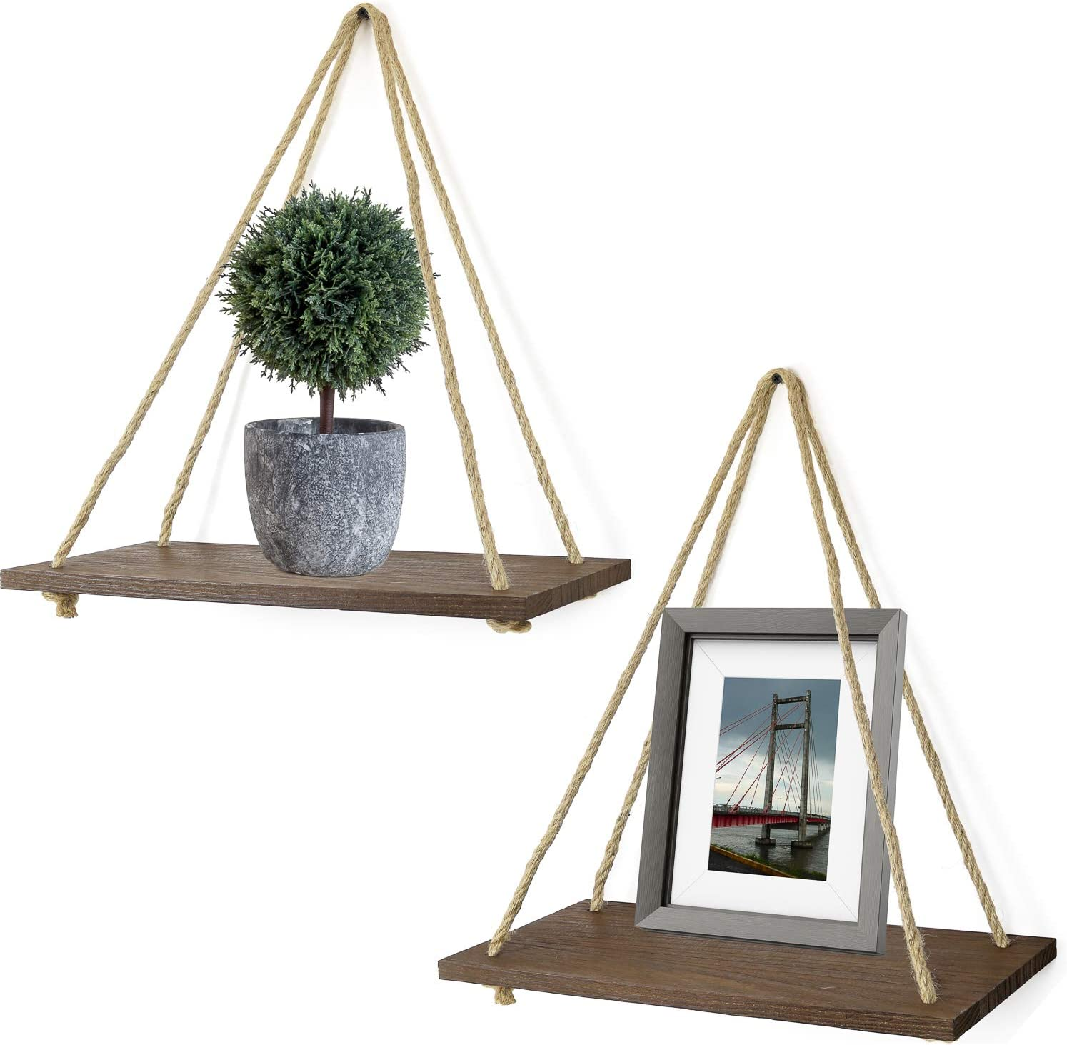 """Greenco Decorative Rustic Wall Hanging Jute Rope Floating Shelves 17"""" Inch-Set of 2, Single"""