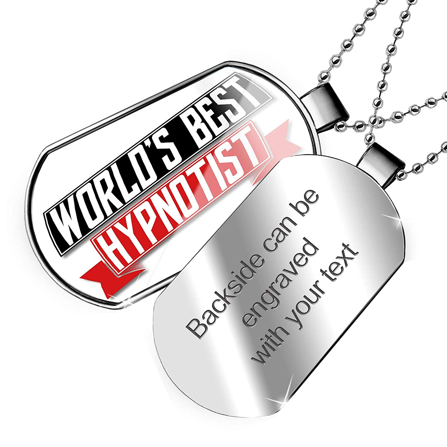 NEONBLOND Personalized Name Engraved Worlds Best Hypnotist Dogtag Necklace