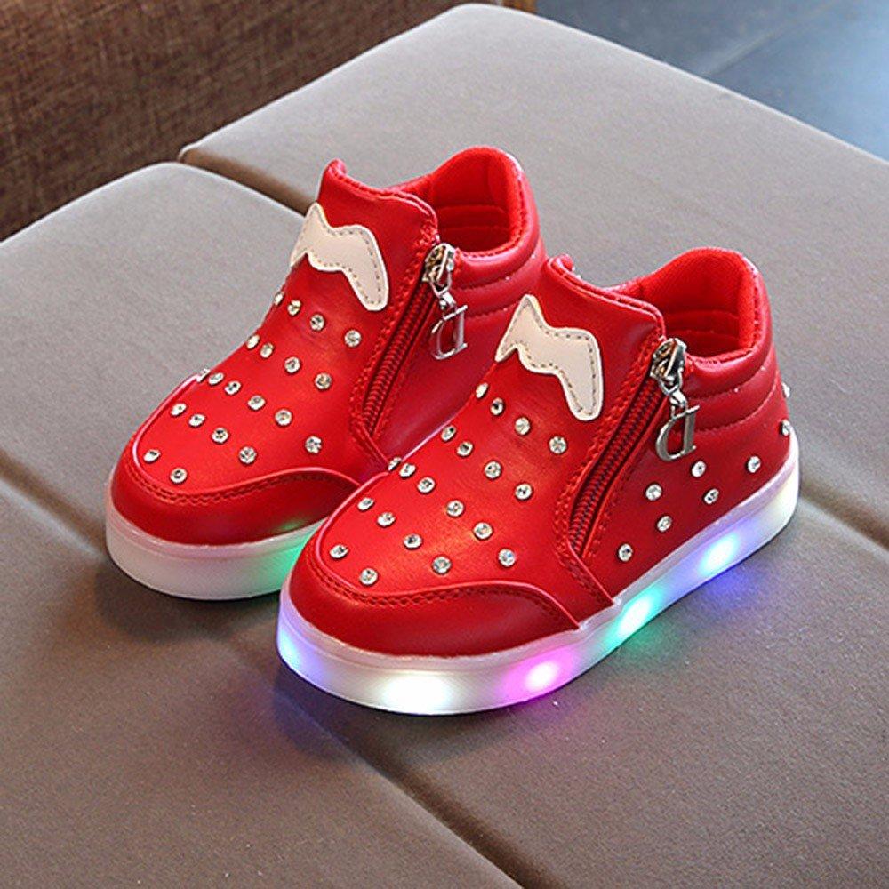 SMTSMT-SHOES Children/Kids Girls Zip Crystal LED Light Up Luminous Sneakers/Shoes