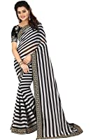 Macube Women Georgette saree with blouse piece(MS1820_BW_Black_White_Free Size)