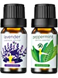 Homasy Essential Oils Gift Set (Lavender, Peppermint) 100% Pure Natural Aromatherapy Premium Therapeutic Grade Oils Kit - 2 x 10ml/Bottle