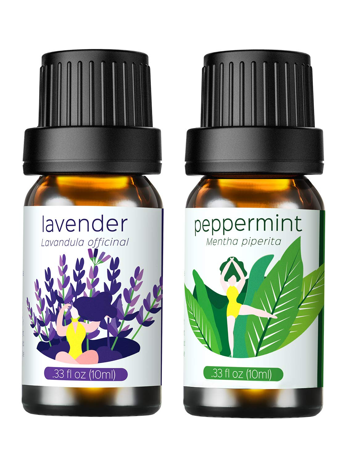Homasy Essential Oils Gift Set (Lavender, Peppermint) 100% Pure Natural Aromatherapy Premium Therapeutic Grade Oils Kit - 2 x 10ml/Bottle VicTsing
