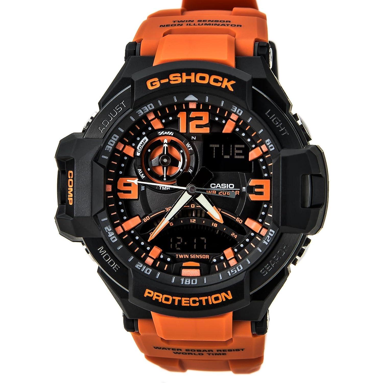 G-Shock Unisex G-Aviation Twin Sensor GA1000-4A Black/Orange GA-1000-4ACR