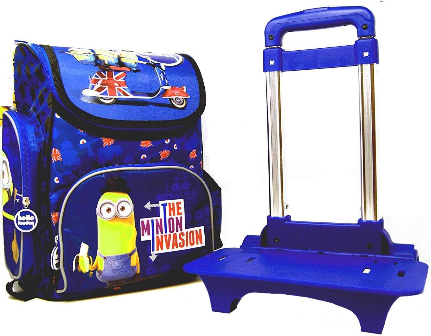 Minions – 2 Unidades. Mochila Escolar (35,5 x 27,5 x 16 cm) Set con Extra Trolley – Hello London – The Minion Invasion – Diseño: Stuart & Kevin & Bob – para Escuela, Deporte + Ocio