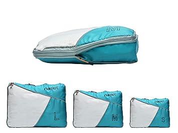 Packing Cubes de Compresión, Organizadores de Equipaje, Set de 3 Organizador para Maletas, Bolsas para Ropa Zapato Sucia de Viaje, Accesorios para Viajes de ...
