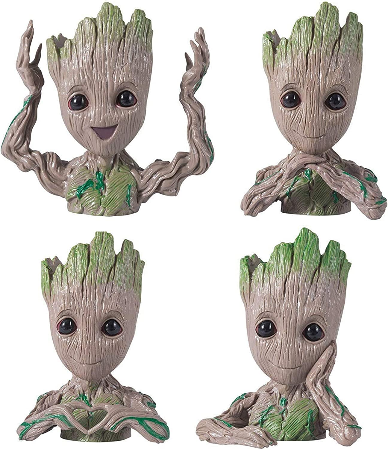 4 in 1 Baby Groot Succulent Planters - Small Indoor Flower Pots for Plants & Succulents with Drainage Hole, Cute Office Desk Decor Planters & Pen Holders for Succulents Plants Lovers