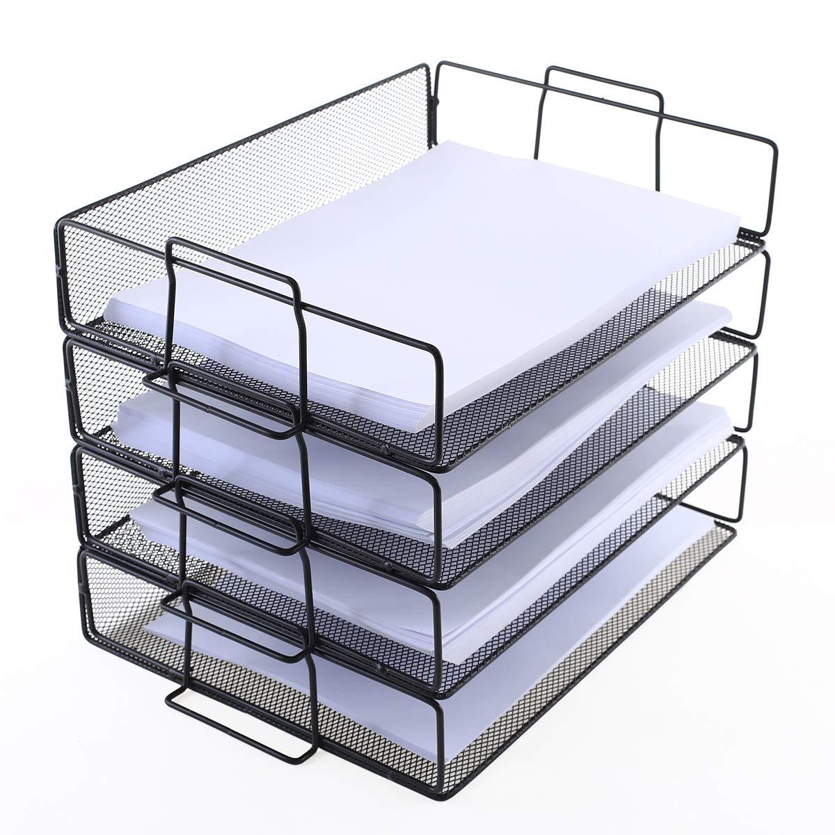 4 Tier Stackable Paper Tray - Metal Mesh Office File Organizer for Desk Printer Letter Teacher Paper Black Color by DeElf