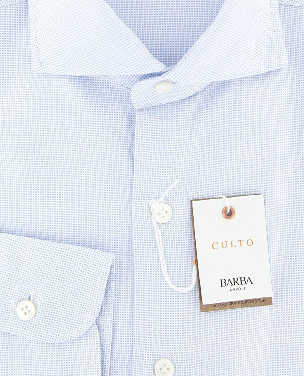 Barba Napoli Patterned Button Down Cutaway Collar Cotton Slim Fit Dress Shirt