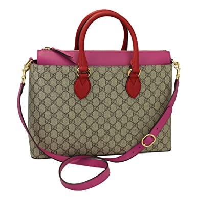 caaebe649288 Image Unavailable. Image not available for. Color: Gucci Gg Supreme Beige &  Pink Tote Bag ...