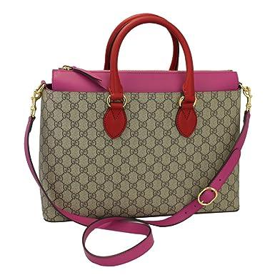 744e5e8fc Amazon.com: Gucci Gg Supreme Beige & Pink Tote Bag With Strap 409533 ...