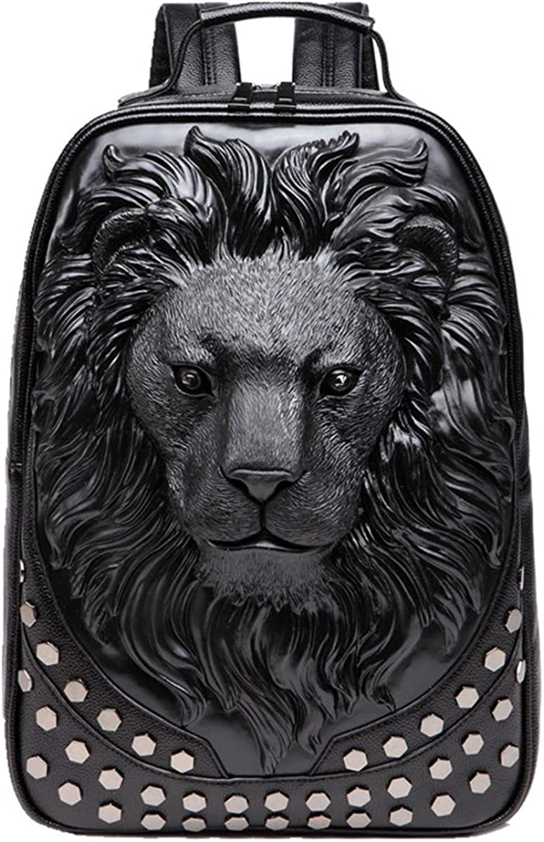 GUQIMEI 3D Lion Tiger backpack bookbag, unique rivet punk rock designer travel backpack