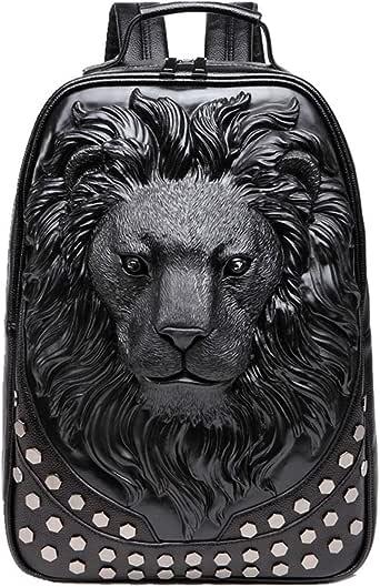 GUQIMEI 3D Lion Tiger backpack bookbag, unique rivet punk rock designer travel backpack