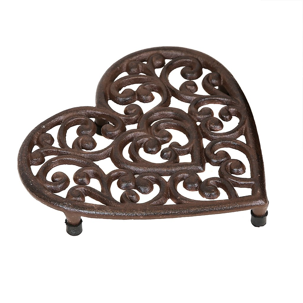 Antique Brown Cast Iron Heart Shaped Trivet Stand for Hot Pans Dibor