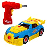 SGILE Take Apart Race Car, 30 Pieces Upgraded Educational Construction Toys Kit with Tools Drill Real Lights and Sounds, Best Gift for Kids Boys Girls