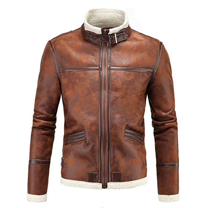 Yeokou Mans Causal Fur Faux PU Leather Pocket Zipper Long Sleeves Stand Collar Slim Short Jacket Coat Outerwear Brown at Amazon Mens Clothing store: