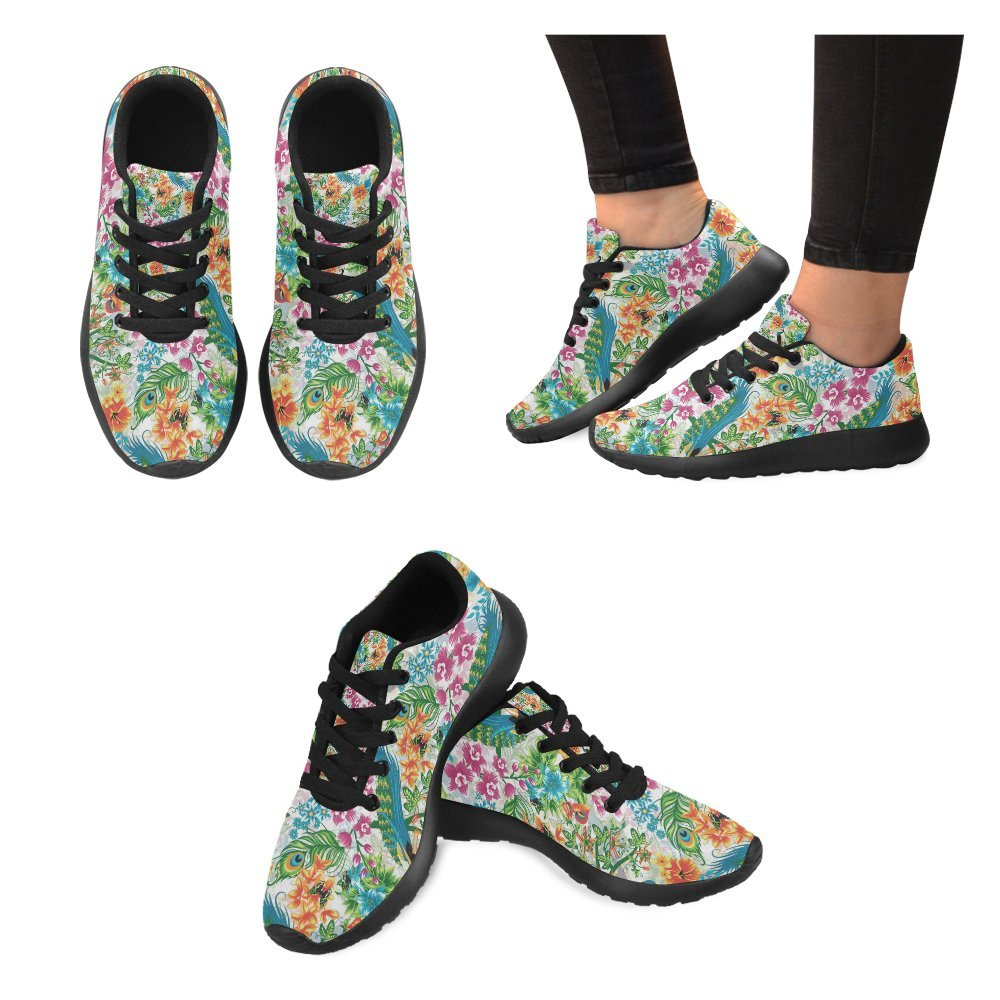 INTERESTPRINT Colorful Peacocks and Flowers Print on Womens Running Shoes Casual Lightweight Athletic Sneakers US Size 6-15